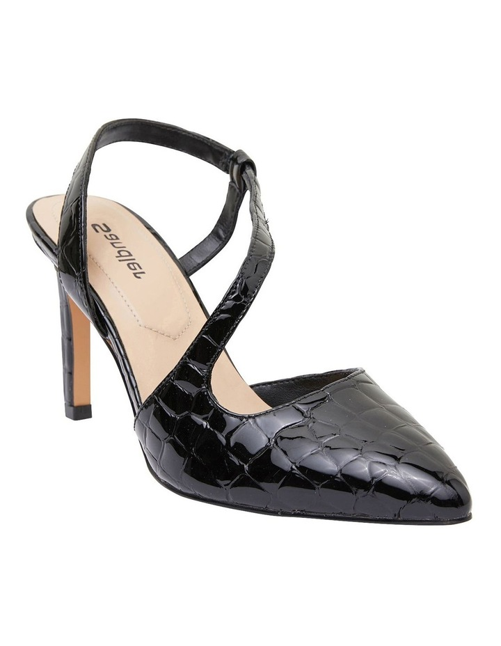Odessa Black Patent Croc Heeled Shoes image 2