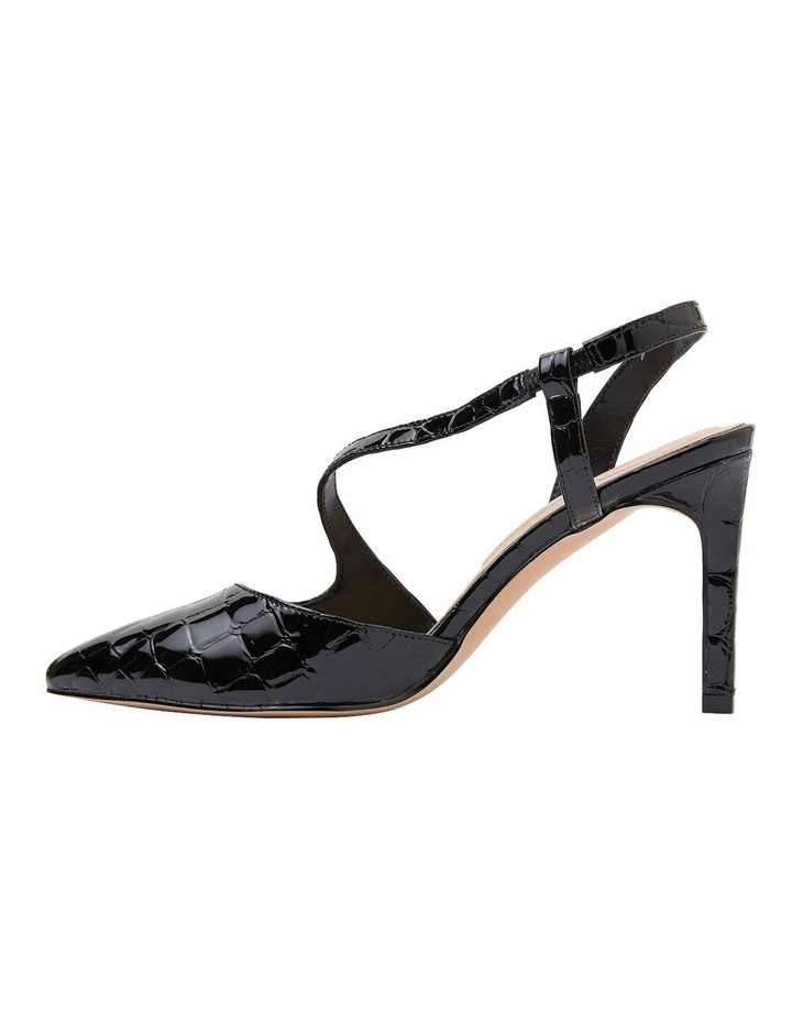 Odessa Black Patent Croc Heeled Shoes image 3