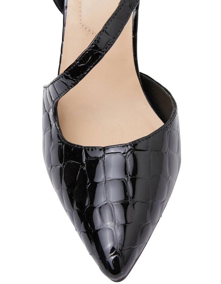 Odessa Black Patent Croc Heeled Shoes image 4