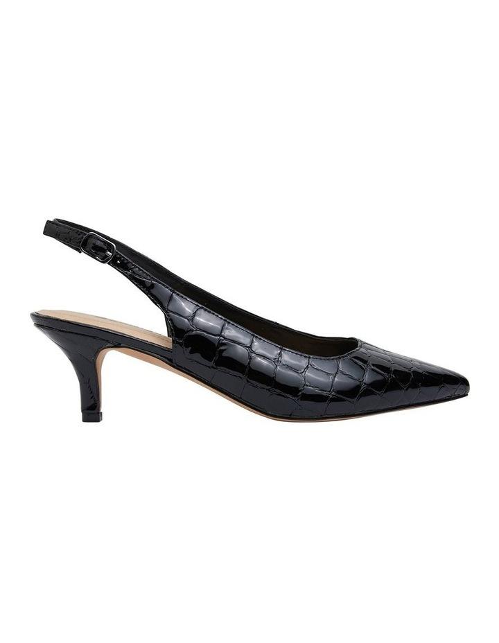 Nina Black Patent Croc Heeled Shoes image 1