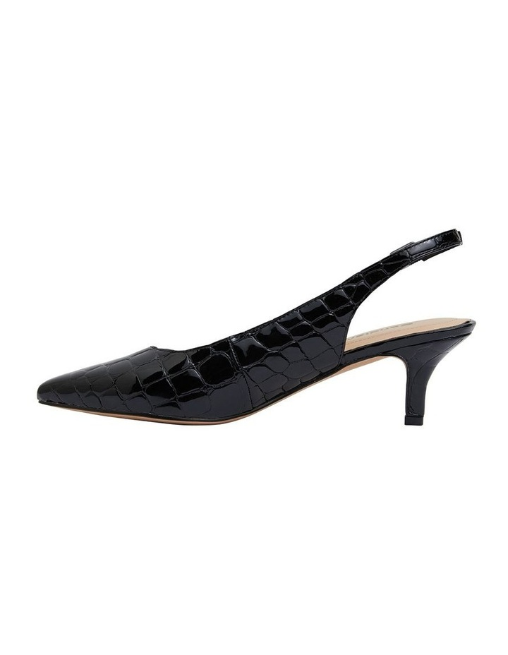 Nina Black Patent Croc Heeled Shoes image 3