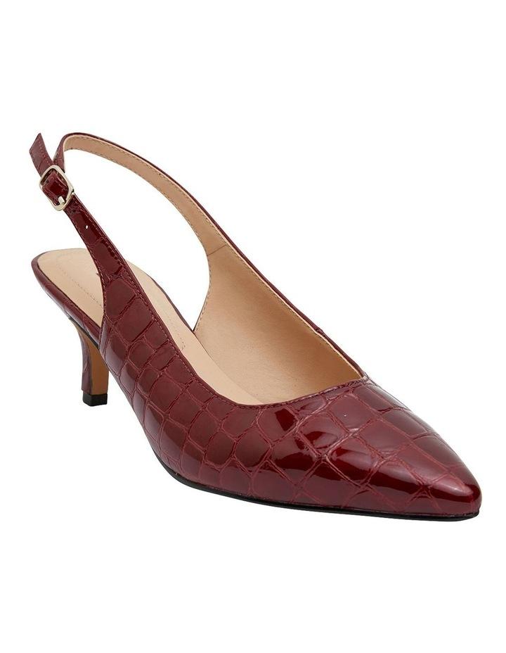 Nina Burgundy Patent Croc Heeled Shoes image 2