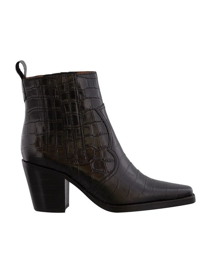 Gloss Black Croc Ankle Boot image 1
