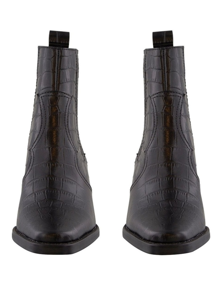 Gloss Black Croc Ankle Boot image 2