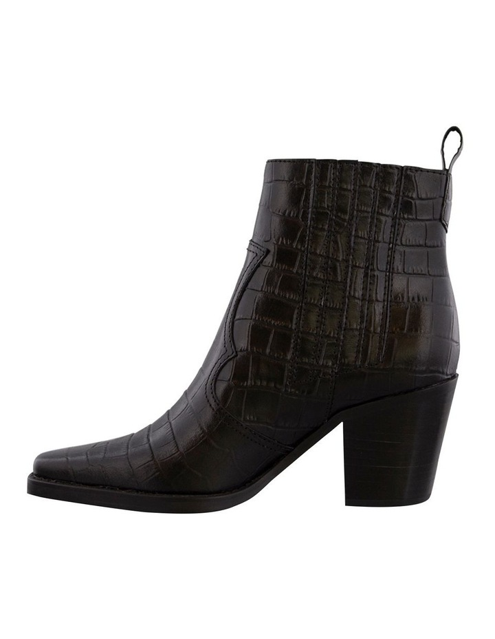 Gloss Black Croc Ankle Boot image 3