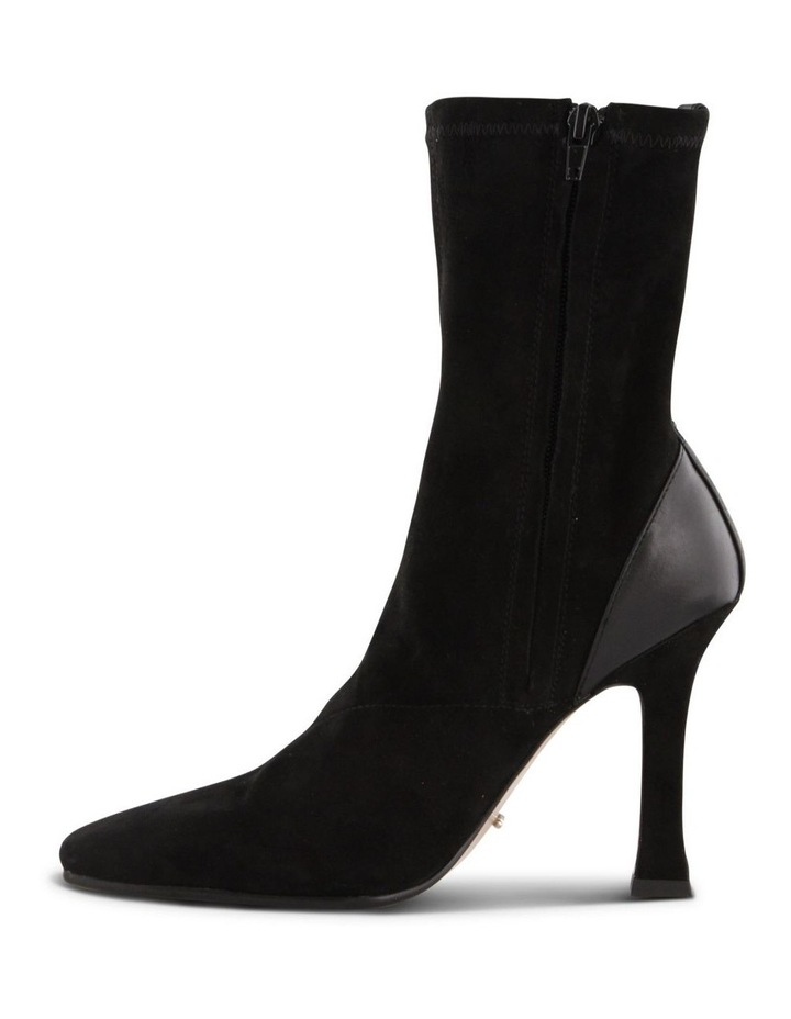 Halee Black Stretch Kid Suede Ankle Boots image 3