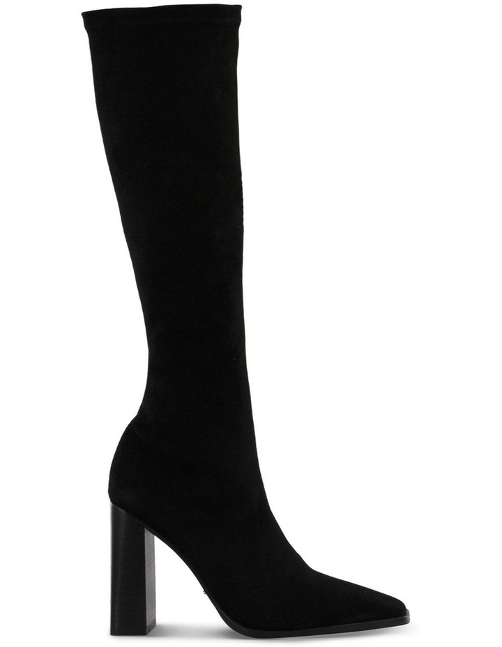 Iman Black Stretch Kid Suede Calf Boot image 1