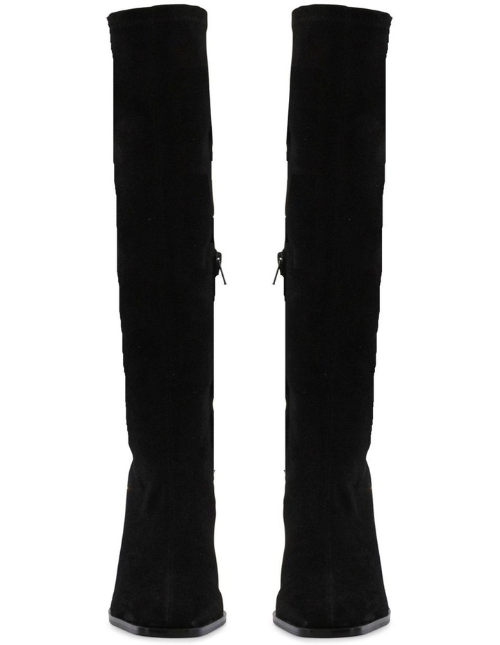 Iman Black Stretch Kid Suede Calf Boot image 2