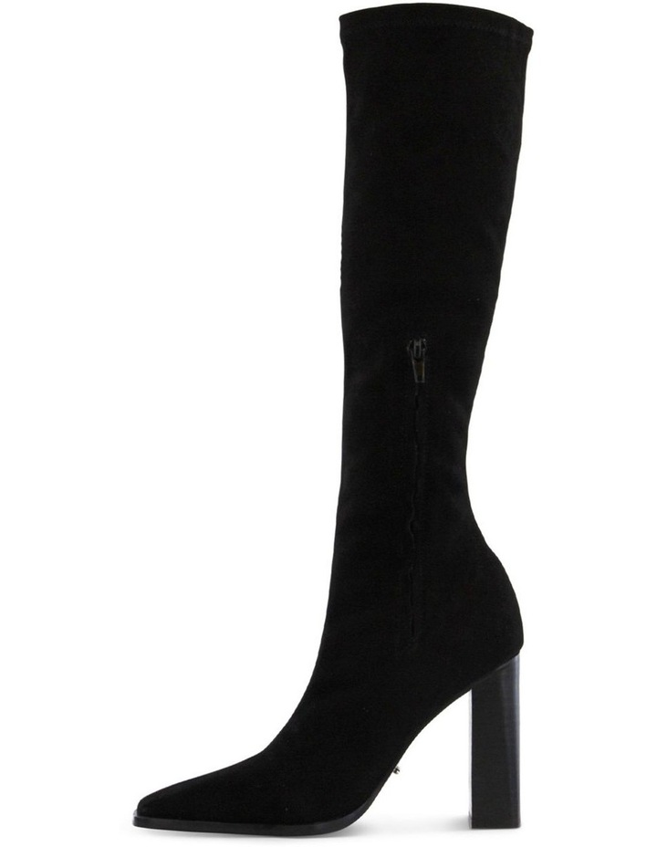Iman Black Stretch Kid Suede Calf Boot image 3