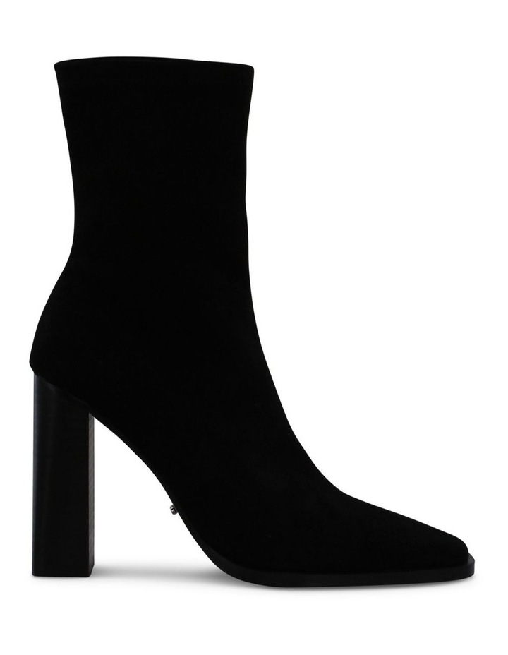 Ines Black Stretch Kid Suede Ankle Boot image 1