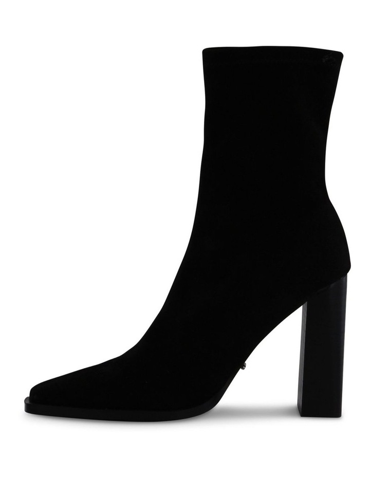 Ines Black Stretch Kid Suede Ankle Boot image 3