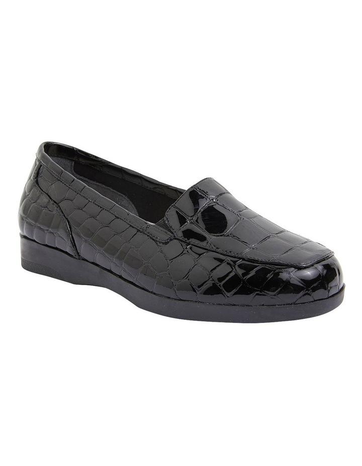 Verse Black Patent Croc Flat Shoes image 2