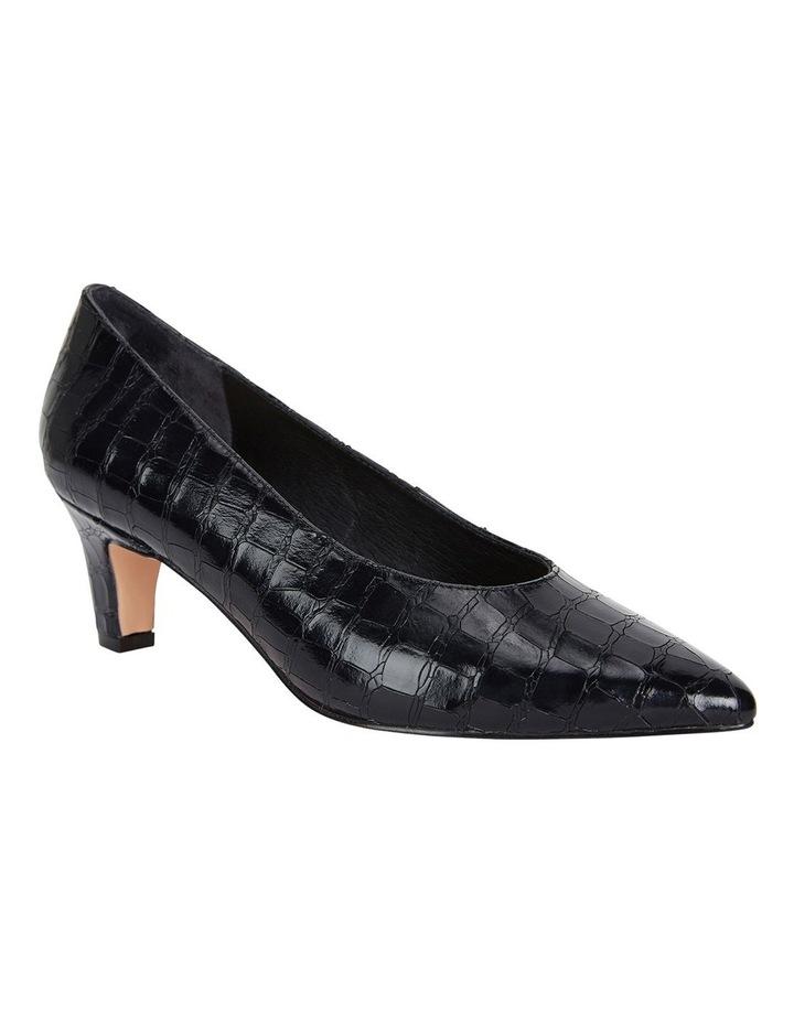 Seduce Black Croc Print Heeled Shoes image 2