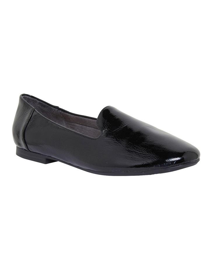 Hugo Black Crinkle Patent Flat Shoes image 2