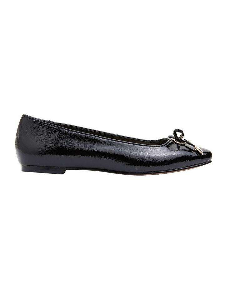 Tabbatha Black Crinkle Patent Flat Shoes image 1