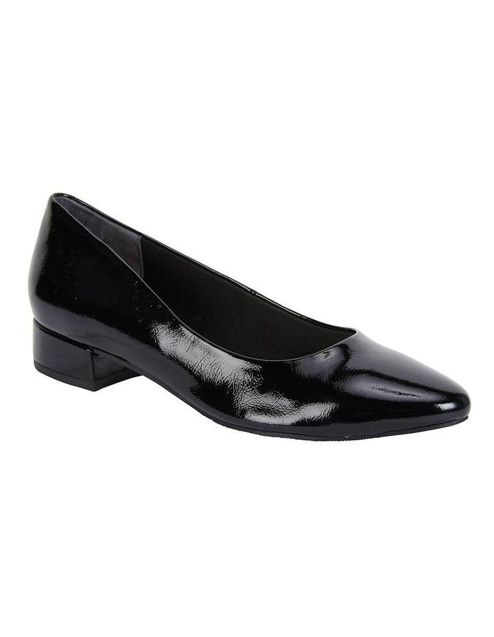Janine Black Crinkle Patent Heeled Shoes image 2