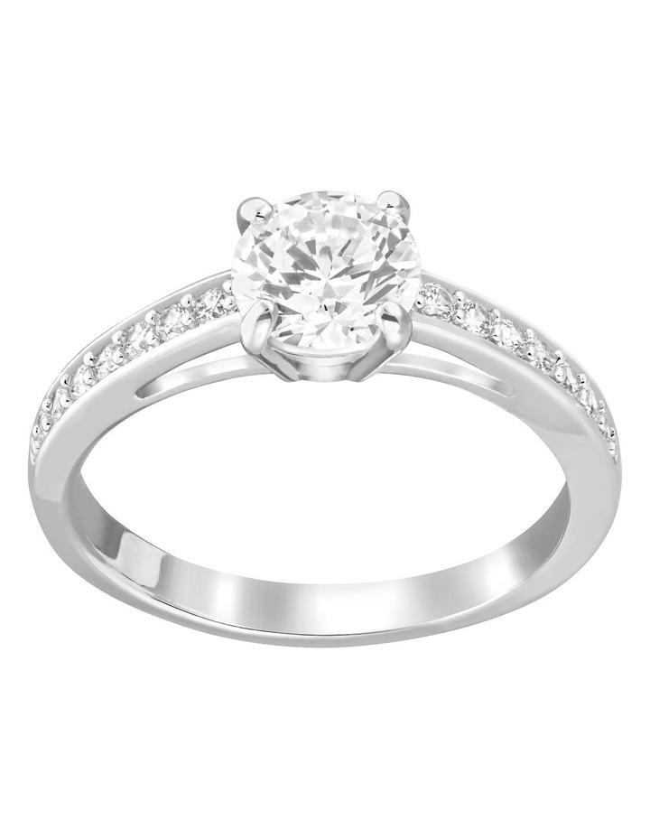 Attract Round Ring - White - Rhodium Plated 58mm image 1