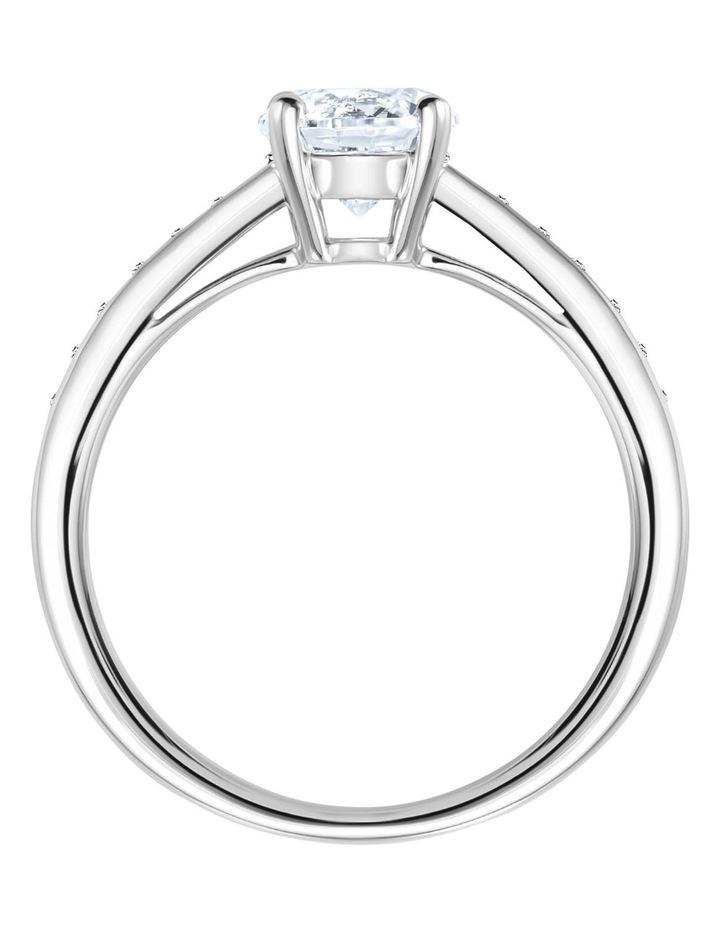 Attract Round Ring - White - Rhodium Plated 58mm image 3
