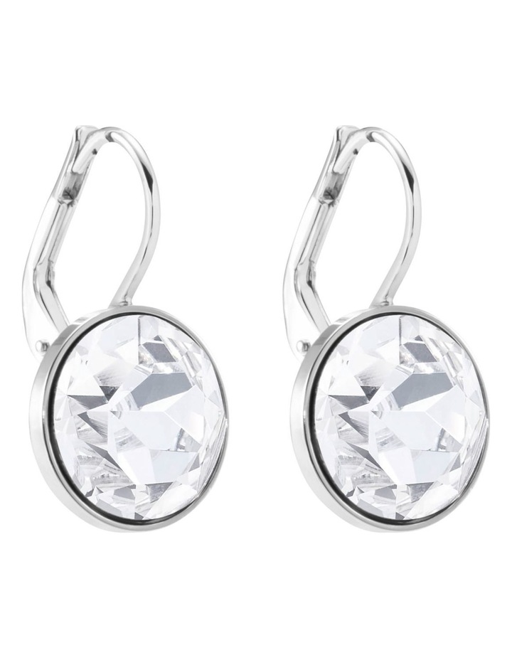 Bella Mini Earrings - White - Rhodium Plated image 3