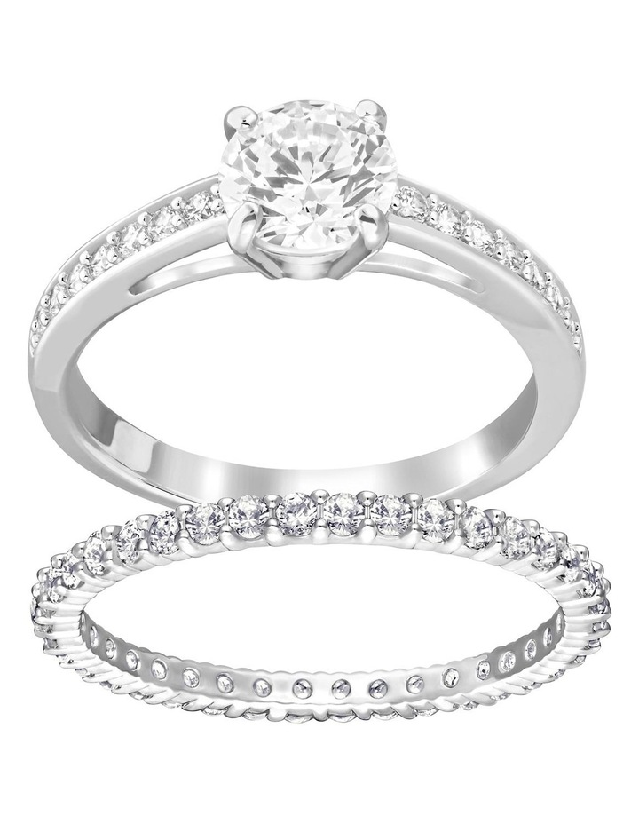 Attract Ring Set - White - Rhodium Plated 52mm image 1