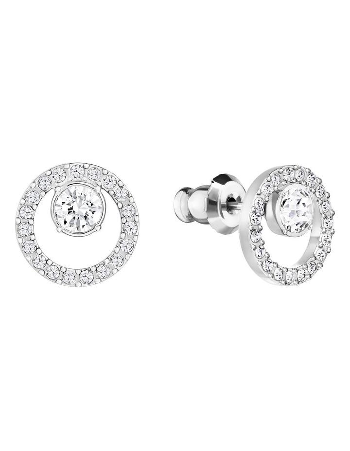 Creativity Circle Pierced Earrings - White - Rhodium Plated image 2