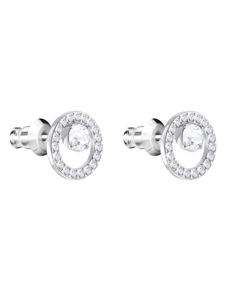 Creativity Circle Pierced Earrings - White - Rhodium Plated image 3