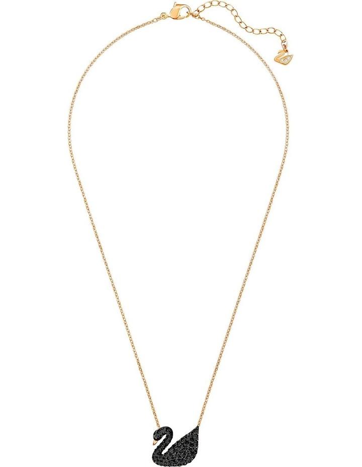 Iconic Swan Pendant - Black - Rose-gold Tone Plated image 2