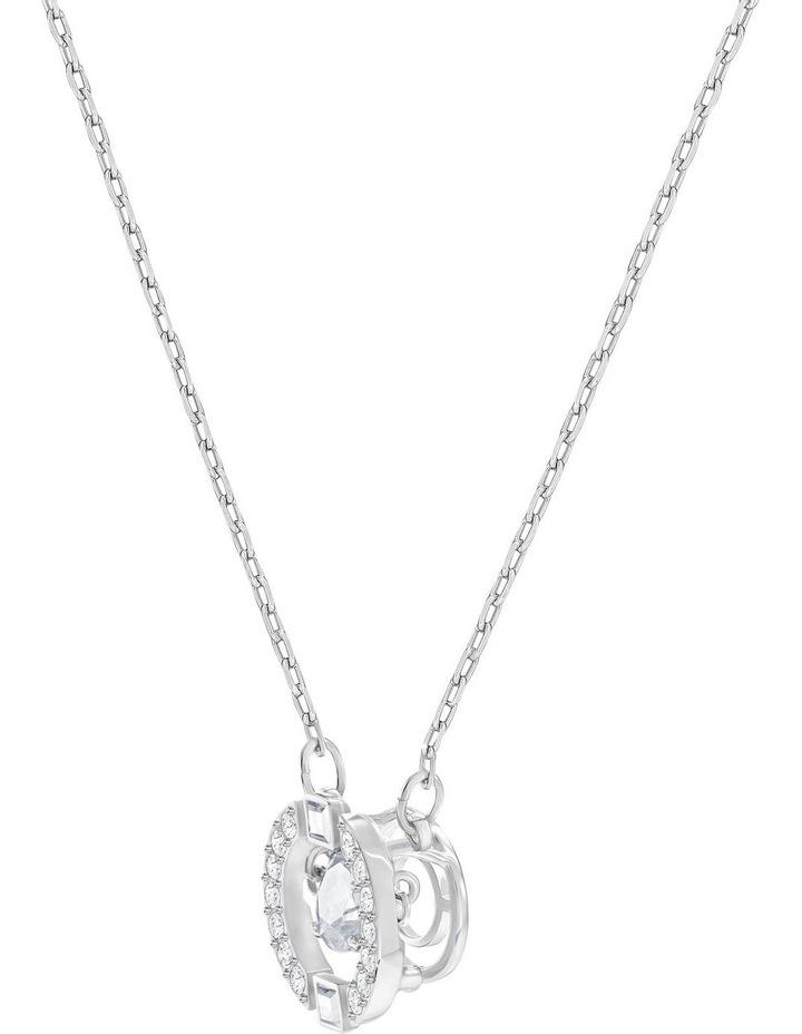 Sparkling Dance Round Necklace - White - Rhodium Plated image 3