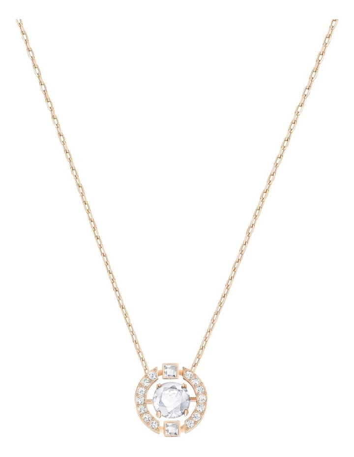 Sparkling Dance Round Necklace - White - Rose-gold Tone Plated image 1