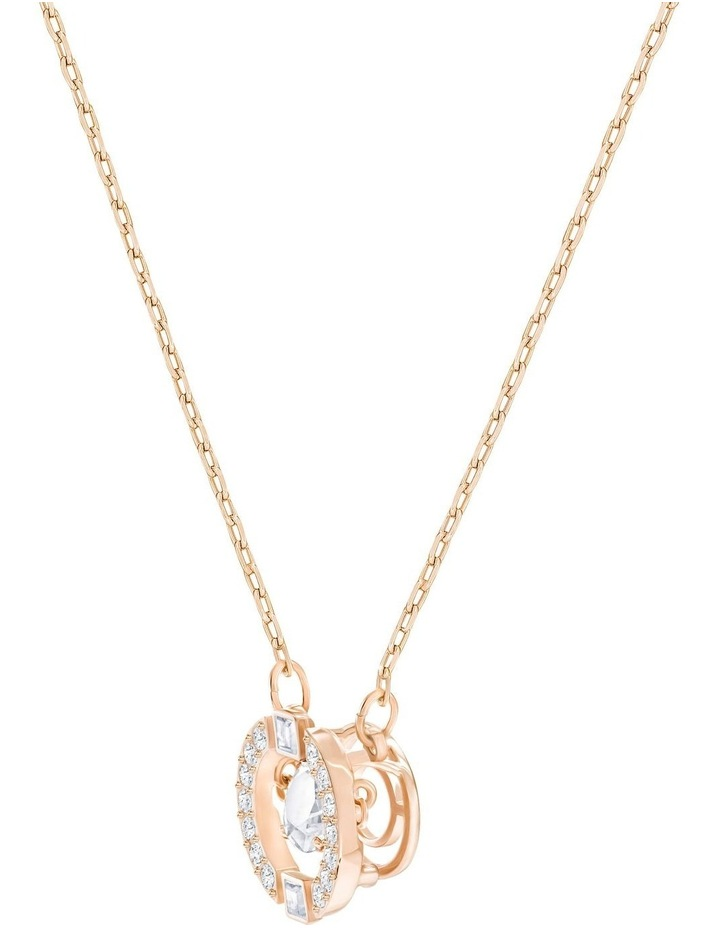 Sparkling Dance Round Necklace - White - Rose-gold Tone Plated image 3