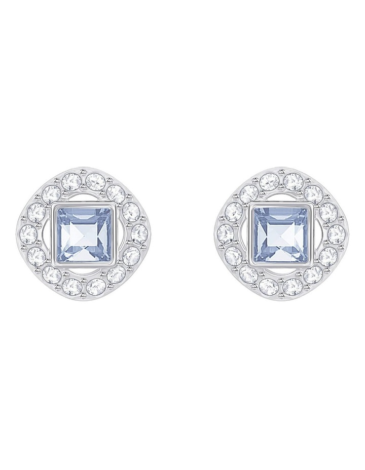 Angelic Square Pierced Earrings - Blue - Rhodium Plated image 1