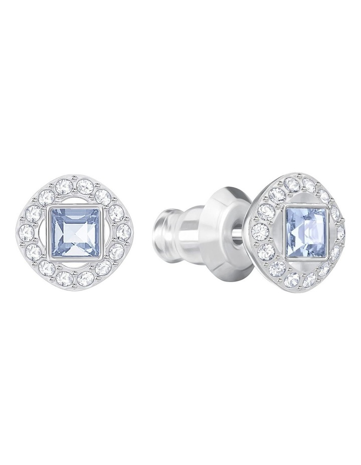 Angelic Square Pierced Earrings - Blue - Rhodium Plated image 2
