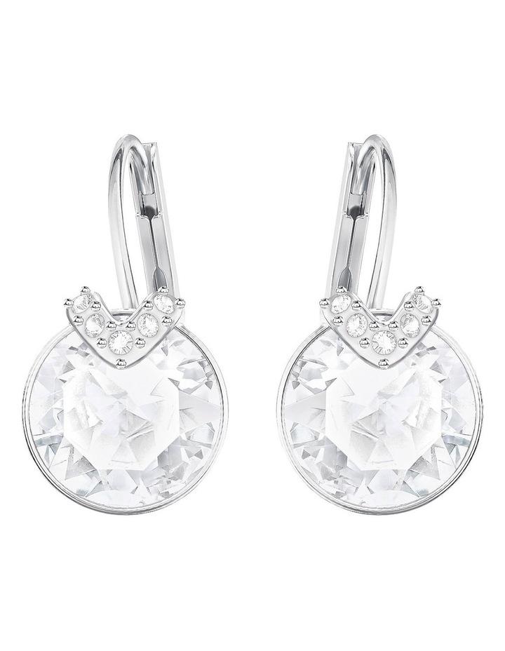 Bella V Pierced Earrings - White - Rhodium Plated image 1