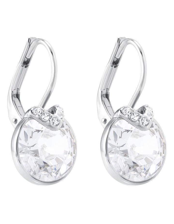 Bella V Pierced Earrings - White - Rhodium Plated image 3