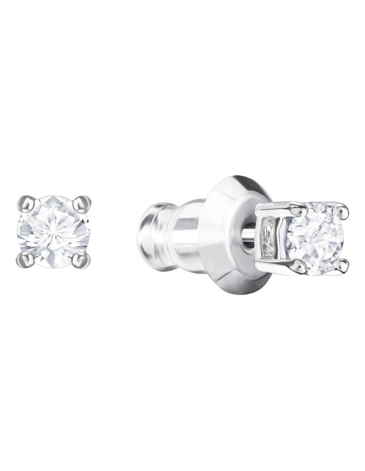 Attract Round Pierced Earrings - White - Rhodium Plated image 2