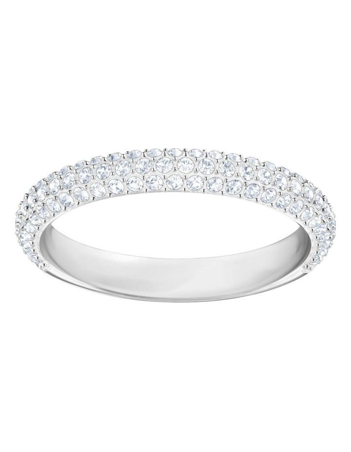 Stone Ring - White - Rhodium Plated 55mm image 1