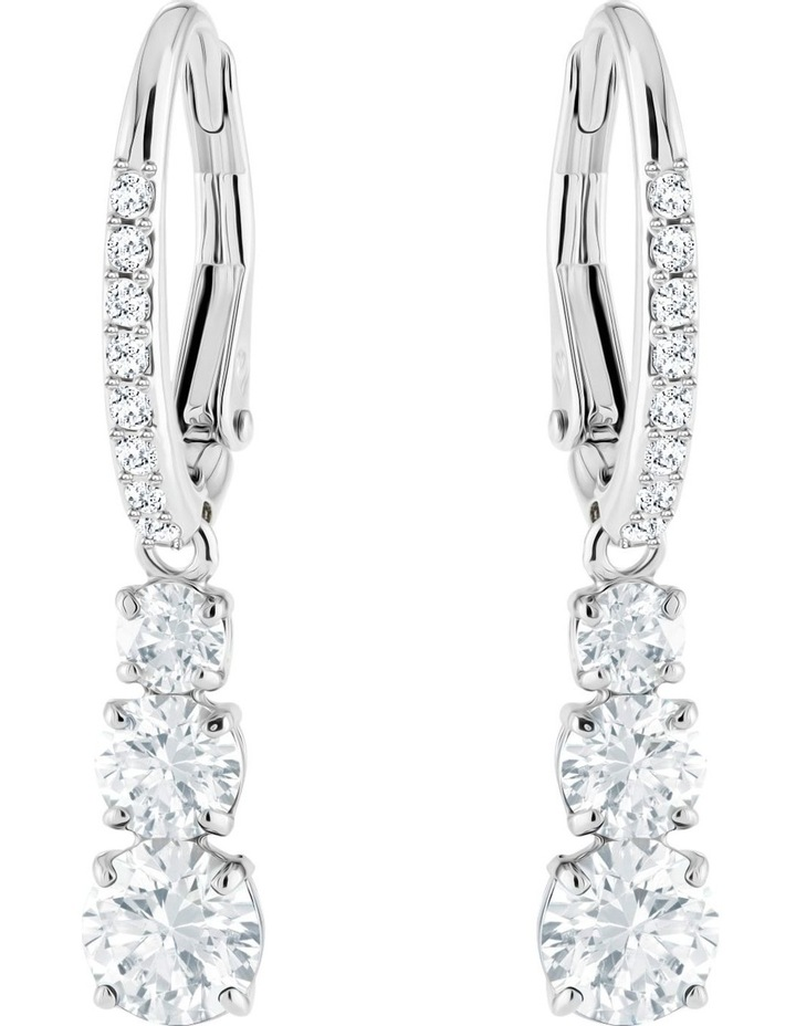 Attract Trilogy Round Pierced Earrings - White - Rhodium Plated image 1