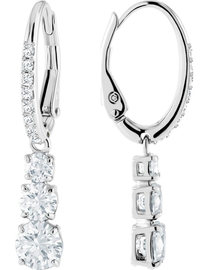 Attract Trilogy Round Pierced Earrings - White - Rhodium Plated image 2