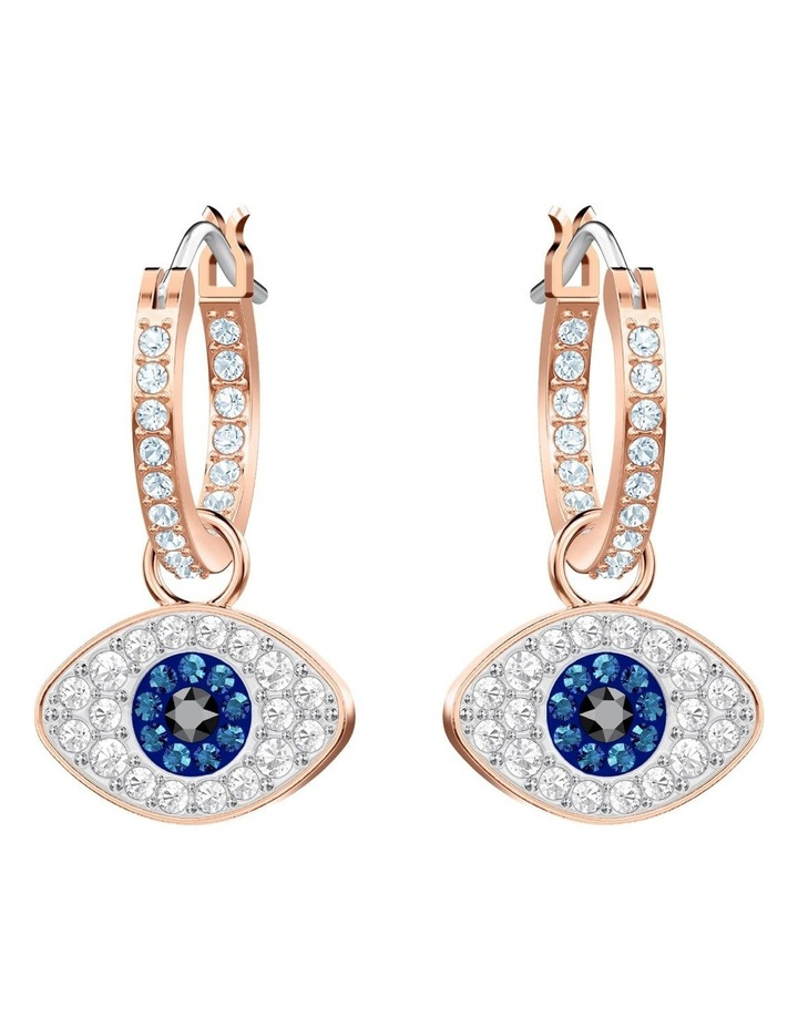 Symbolic Evil Eye Hoop Pierced Earrings - Blue - Rose-gold Tone Plated image 1