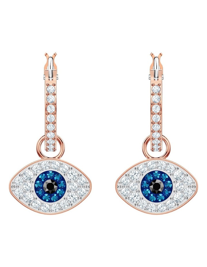 Symbolic Evil Eye Hoop Pierced Earrings - Blue - Rose-gold Tone Plated image 2