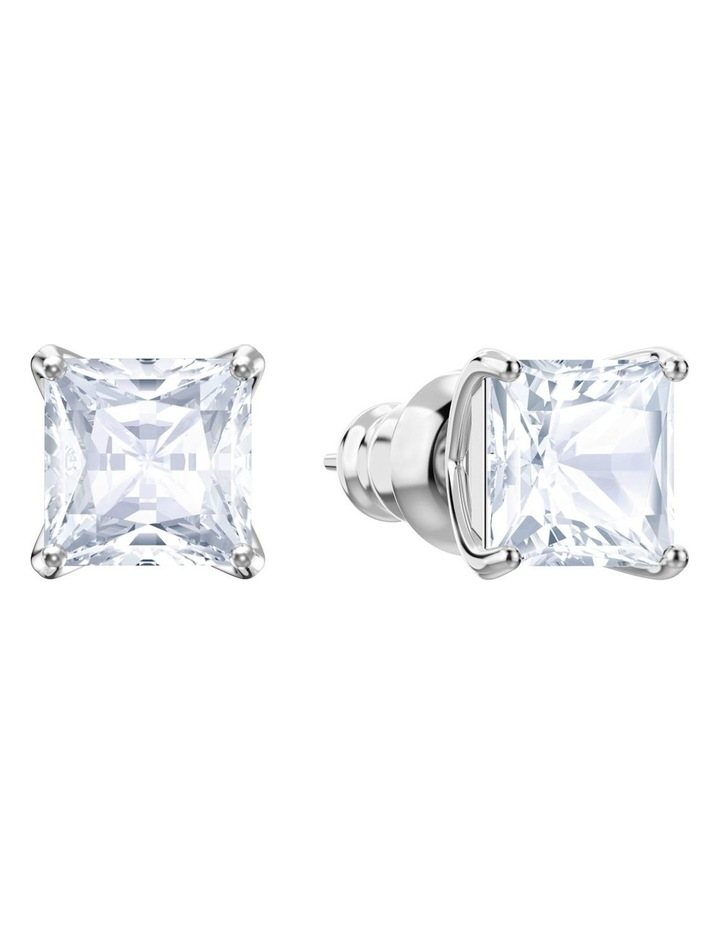 Attract Stud Pierced Earrings - White - Rhodium Plated image 2