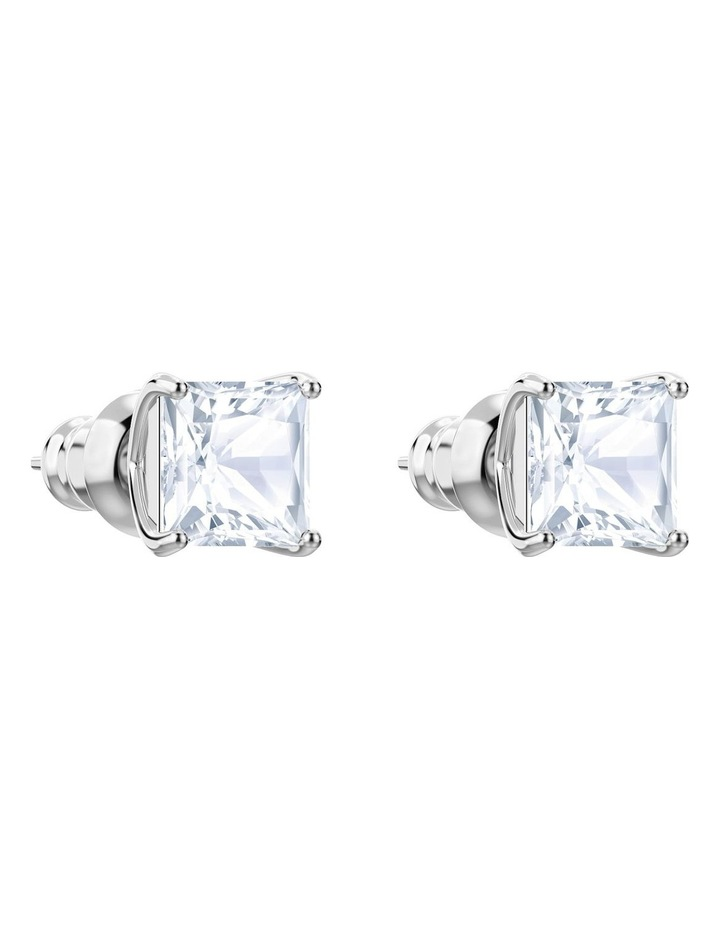Attract Stud Pierced Earrings - White - Rhodium Plated image 3