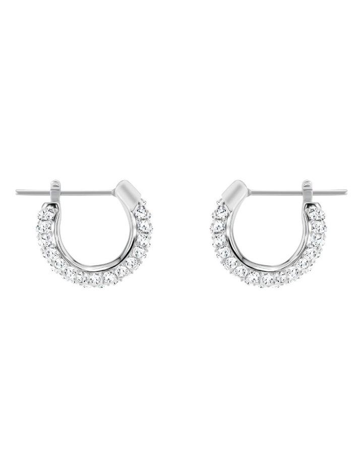 Stone Pierced Earrings - White - Rhodium Plated image 1