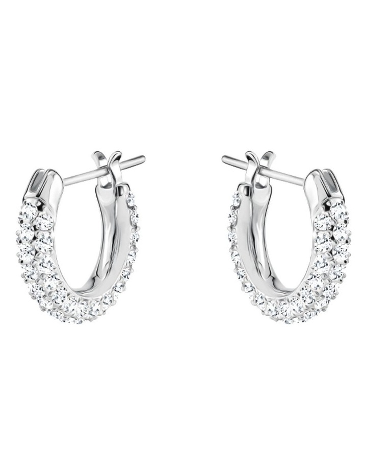 Stone Pierced Earrings - White - Rhodium Plated image 2