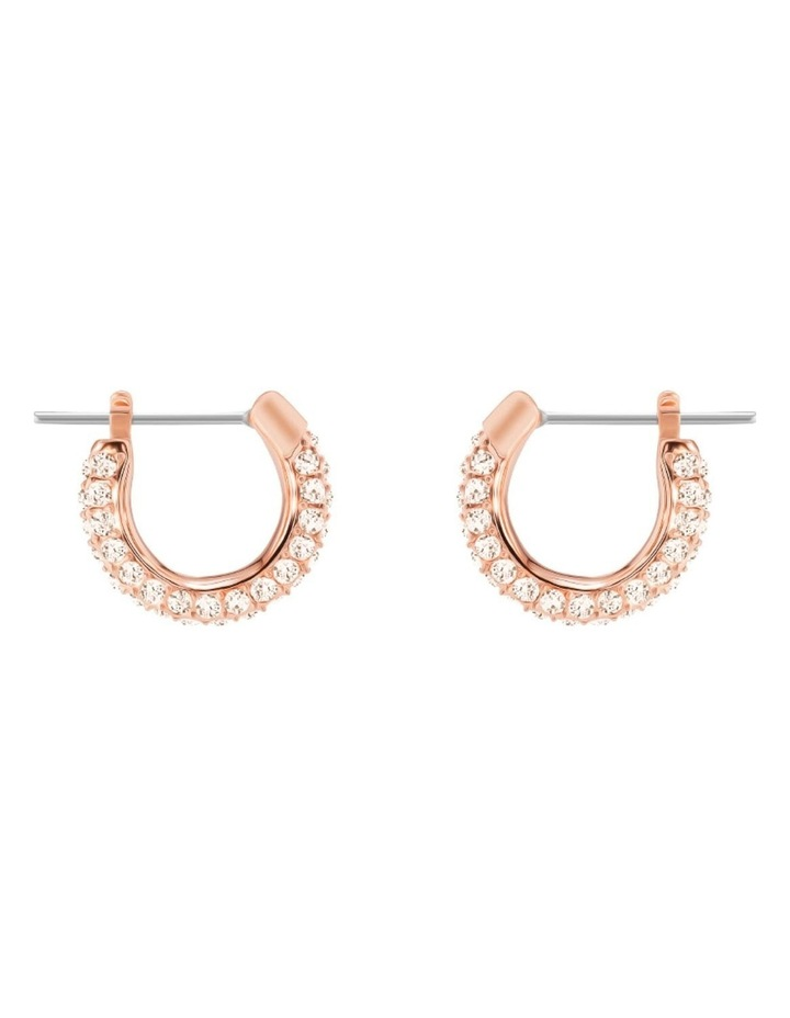 Stone Pierced Earrings - Pink - Rose-gold Tone Plated image 1