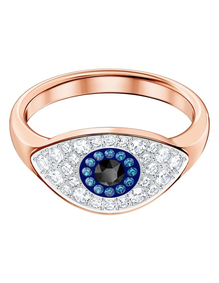 Symbolic Evil Eye Ring - Blue - Rose-gold Tone Plated S image 1