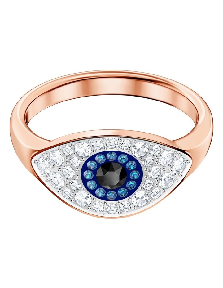 Symbolic Evil Eye Ring - Blue - Rose-gold Tone Plated XL image 1