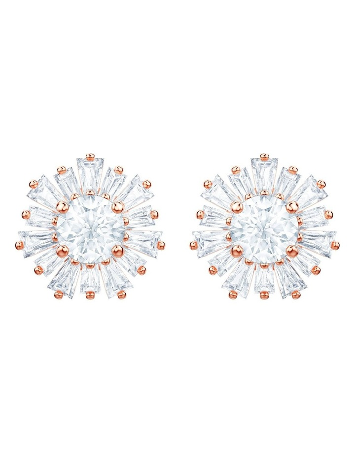 Sunshine Pierced Earrings - White - Rose-gold Tone Plated image 1