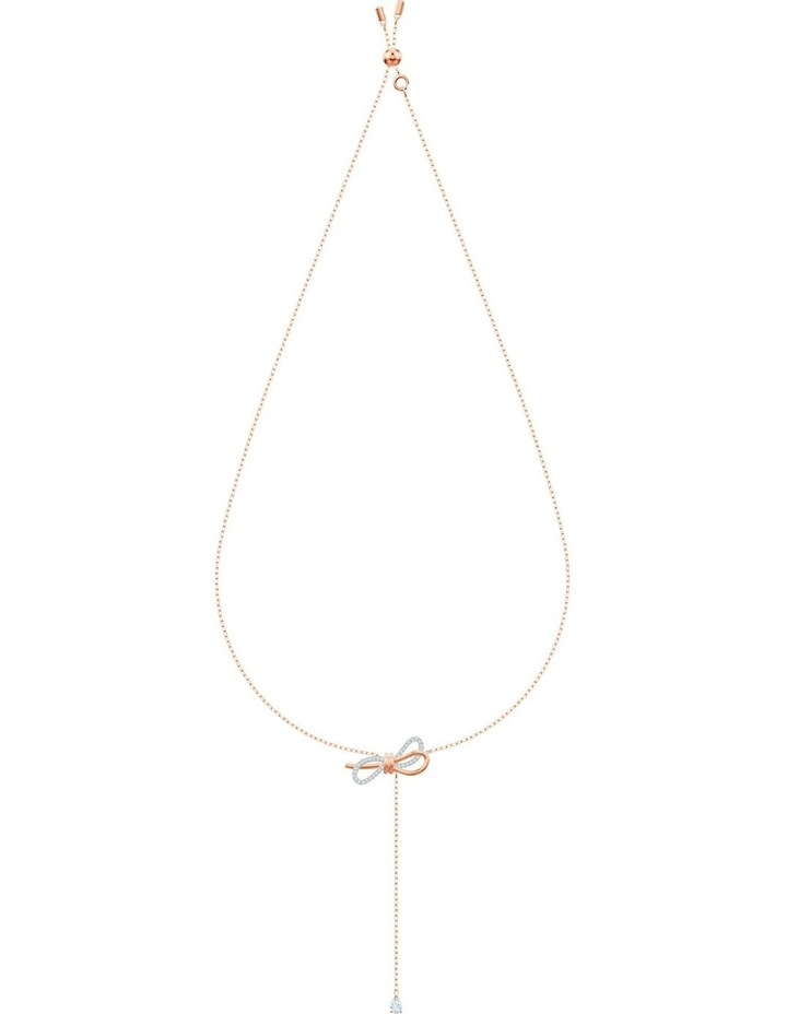 Lifelong Bow Y Necklace - White - Mixed Metal Finish image 2