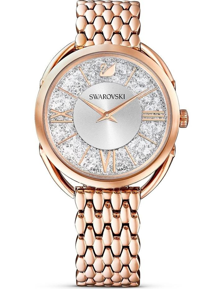 Crystalline Glam Watch - Metal Bracelet - White - Rose-Gold Tone Pvd image 1